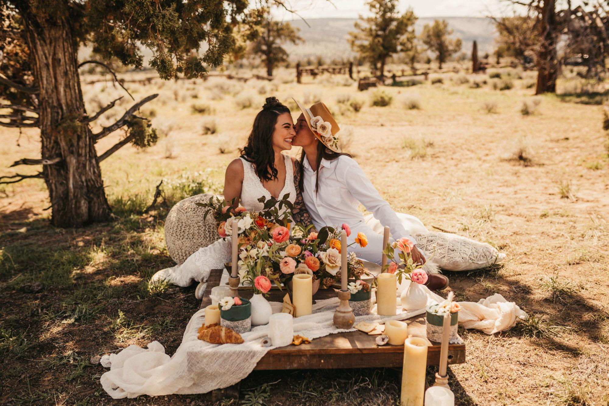 Two girls celebrating their same sex wedding